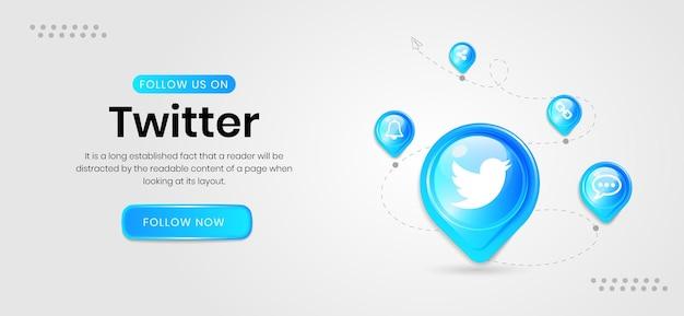 Banner do twitter de ícones de mídia social
