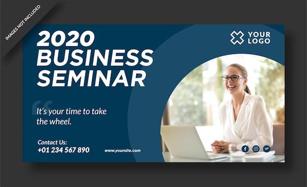 Banner do web seminário de negócios e postagem em mídia social