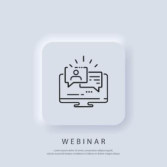 Banner do webinar ao vivo. assistindo streaming online em laptop, treinamento em vídeo, seminário. vetor. ícone da interface do usuário. botão da web da interface de usuário branco neumorphic ui ux.