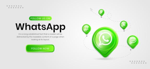 Banner do whatsapp de ícones de mídia social