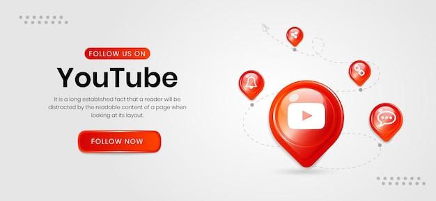 Banner do youtube com ícones de mídia social