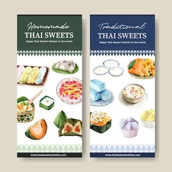 Banner doce tailandês com linhas douradas, ilustração em aquarela de geléia em camadas.