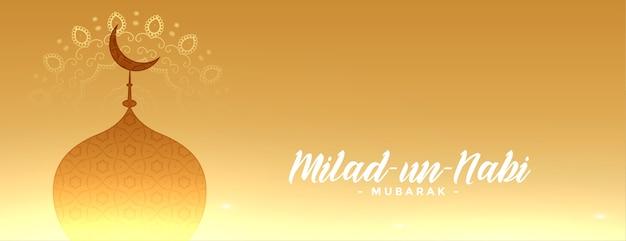 Banner dourado brilhante de milad un nabi mubarak