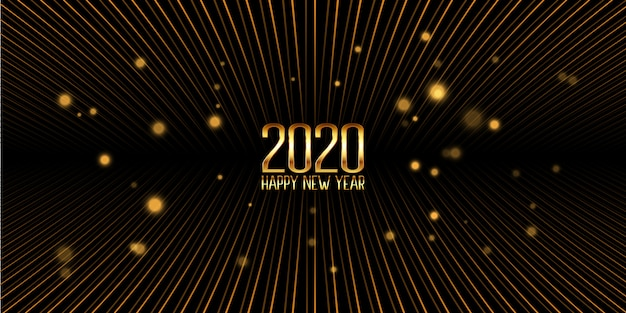 Banner dourado feliz ano novo