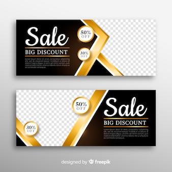 Banner dourado para vendas de compras