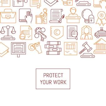 Banner e cartaz com elementos de direitos autorais de estilo linear