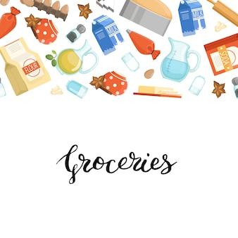 Banner e cartaz com ingridients de cozinhar desenhos animados ou mantimentos com letras