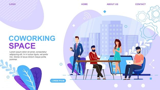 Banner é escrito página de destino de espaço de coworking.