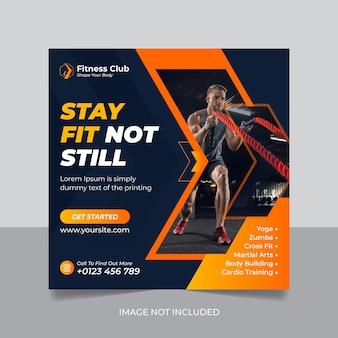 Banner e flyer quadrado de promoção de mídia social de academia de ginástica