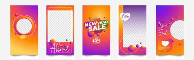 Banner e histórias do instagram de venda de ano novo