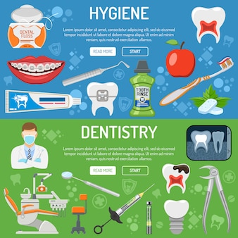 Banner e infográficos de serviços odontológicos