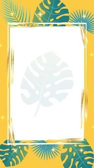 Banner e plano de fundo para postagens de histórias em mídias sociais elementos de folhas de palmeira textura grunge