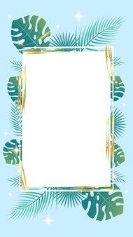 Banner e plano de fundo para postagens de histórias em mídias sociais folhas de palmeira textura grunge