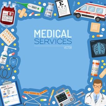 Banner e quadro de serviços médicos