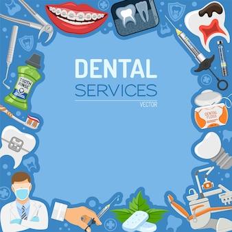 Banner e quadro de serviços odontológicos