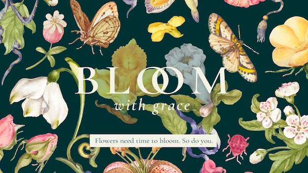 Banner editável de belo modelo floral, remixado de obras de arte de pierre-joseph redouté