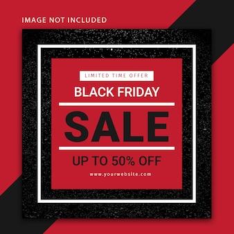 Banner editável moderno preto de venda na sexta-feira, modelo de postagem em mídia social