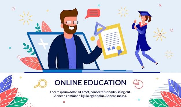 Banner educação on-line na universidade.