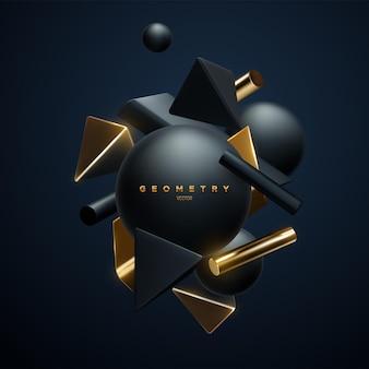 Banner elegante abstrato com aglomerado de formas geométricas pretas e douradas