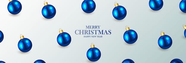 Banner elegante abstrato com bolas de natal azuis e lugar para texto. feliz ano novo.