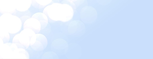 Banner elegante azul-celeste com luzes bokeh