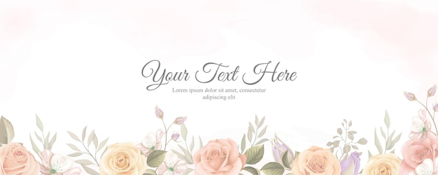 Banner elegante com cor suave de enfeite de flor rosa desabrochando
