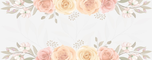 Banner elegante com enfeite de flor colorida de rosa desabrochando