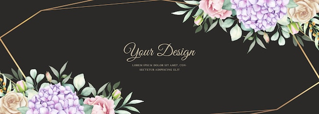 Banner elegante com flores em aquarela hortênsia