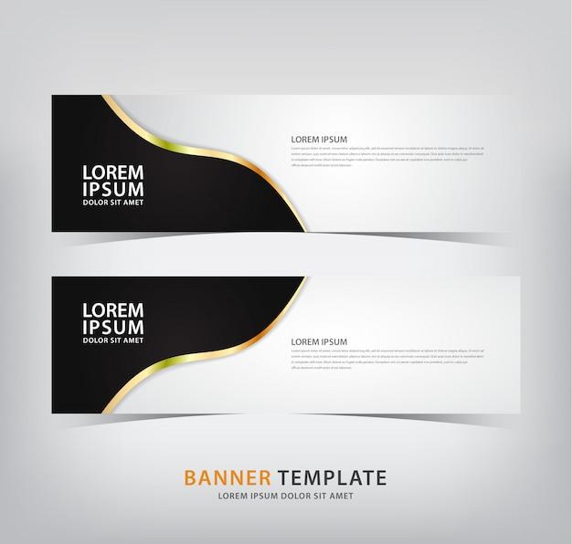 Banner elegante com motivos pretos e linhas de ouro