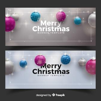 Banner elegante conjunto com decoração de bolas de natal