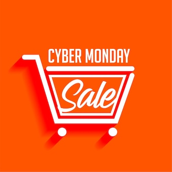Banner elegante de carrinho de compras de venda de segunda-feira cibernética