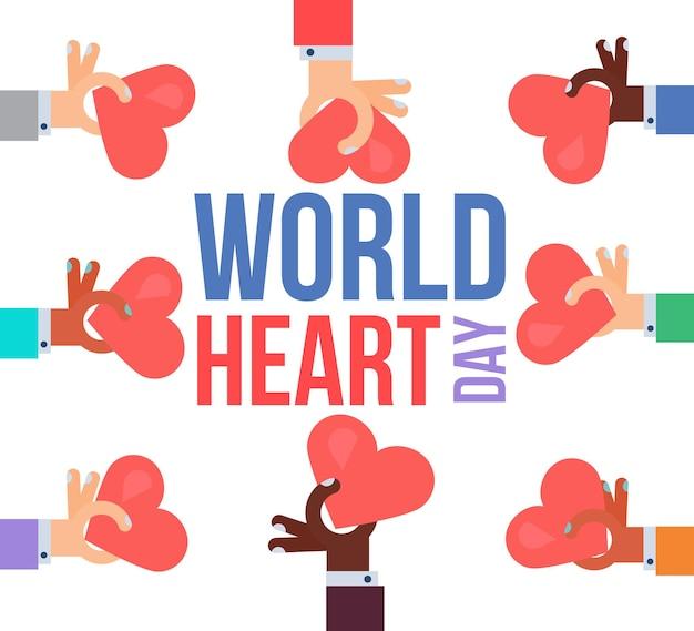 Banner elegante de celebração do dia mundial do coração. vetor