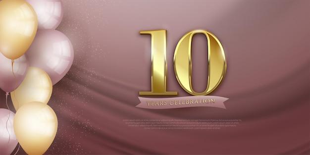 Banner elegante de comemoração do 10º aniversário com balões realistas