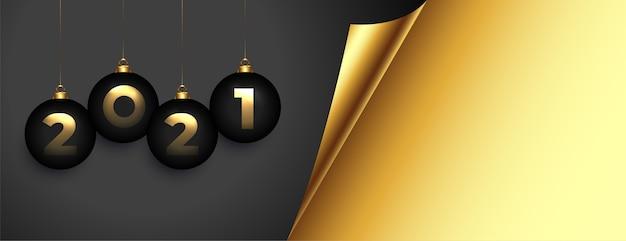 Banner elegante de feliz ano novo dourado