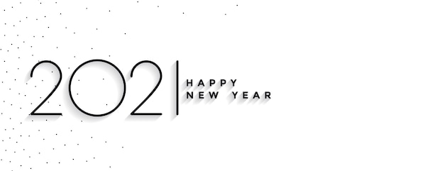 Banner elegante de feliz ano novo mínimo 2021
