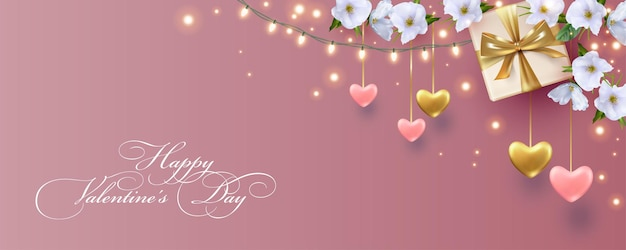 Banner elegante do dia dos namorados com corações pendurados, guirlanda de lâmpadas e lindas flores brancas