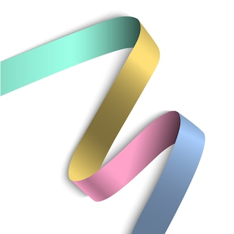 Banner elegante fita colorida com sombra