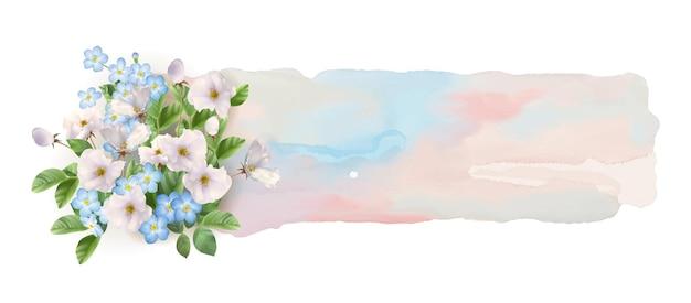 Banner em aquarela abstrato com flores