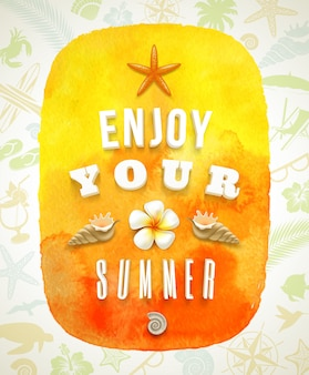 Banner em aquarela com saudação de verão em um fundo com coisas de verão