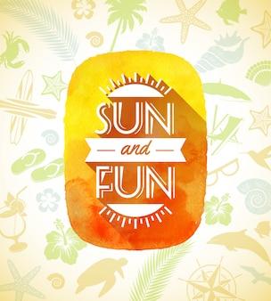 Banner em aquarela com saudação de verão em um plano de fundo com coisas de verão