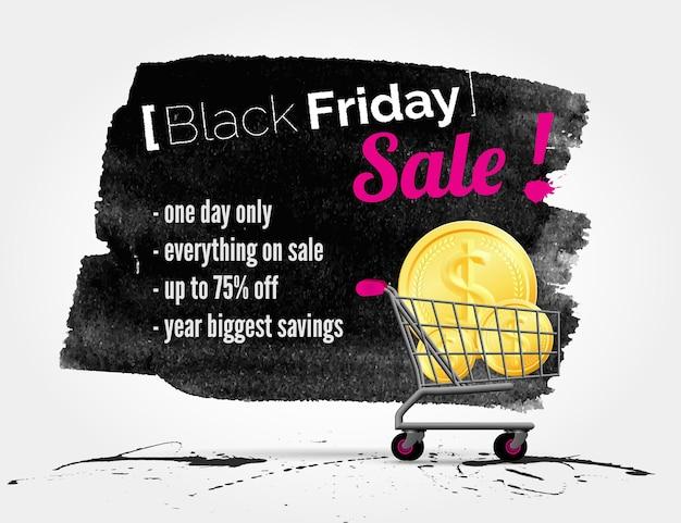 Banner em aquarela de vetor black friday com respingos de tinta e carrinho de compras
