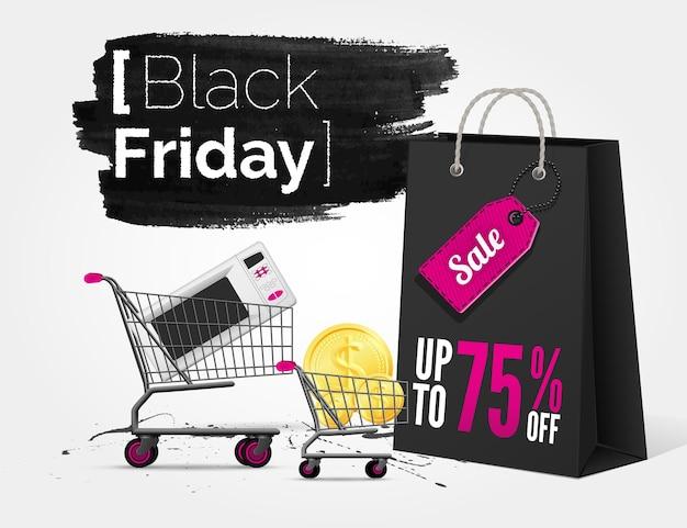 Banner em aquarela de vetor black friday com respingos de tinta, sacola de compras e um carrinho