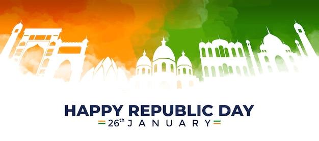 Banner em aquarela do dia da república da índia