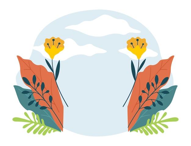 Banner em branco com flores e céu com nuvens. design de cartão floral, flor isolada de primavera ou verão. primavera e verão, composições de flores silvestres. eco e natureza. vetor em estilo simples