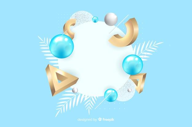 Banner em branco com formas geométricas tridimensionais