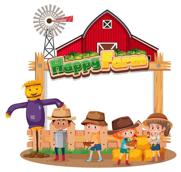 Banner em branco com logotipo happy farm e filhos de fazendeiros isolados
