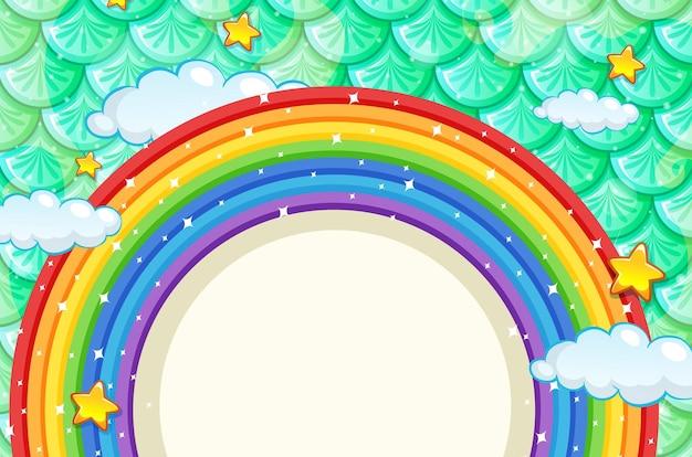 Banner em branco com moldura de arco-íris em escamas de peixes verdes