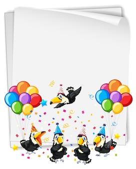 Banner em branco com muitos pássaros no tema da festa