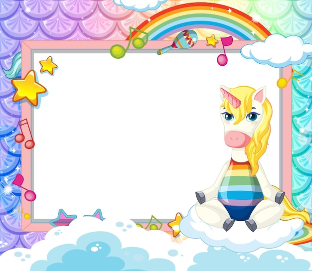 Banner em branco com o personagem de desenho animado de unicórnio fofo