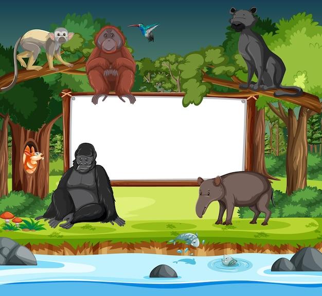 Banner em branco com personagem de desenho animado de animais selvagens na cena da floresta